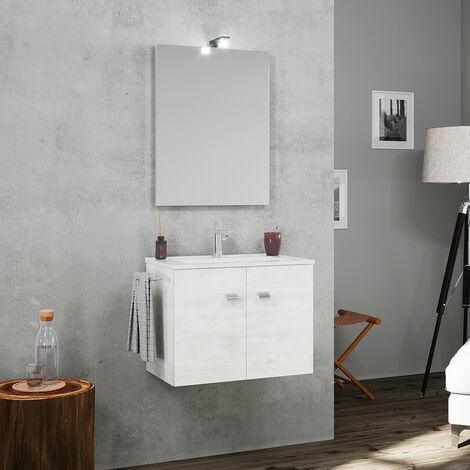 Mueble de baño base suspendida con 2 puertas y espejo lámpara LED Toallero de cerámica para lavabo Vanern