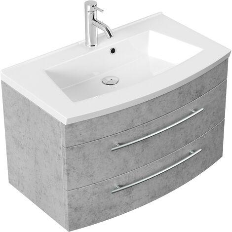 Mueble de baño Bella 80 con panel frontal redondeado Gris hormigón