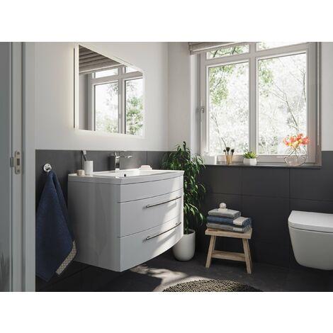 Mueble de baño Bella 80 frontal redondeado Blanco brillante con Espejo-LED