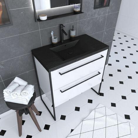 Mueble de baño blanco 80x50cm - 2 cajones blancos - lavabo de resina negra efecto piedra