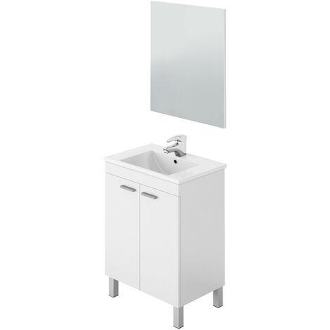 Mueble de baño blanco brillo 2 puertas 60x45 (LAVABO OPCIONAL)