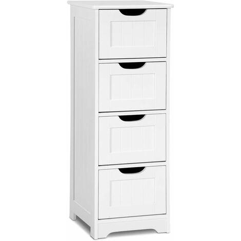 Mueble de Baño Blanco Cómoda con 4 Cajones Cajonera de Madera Multiuso para Oficina Salón Habitación Baño