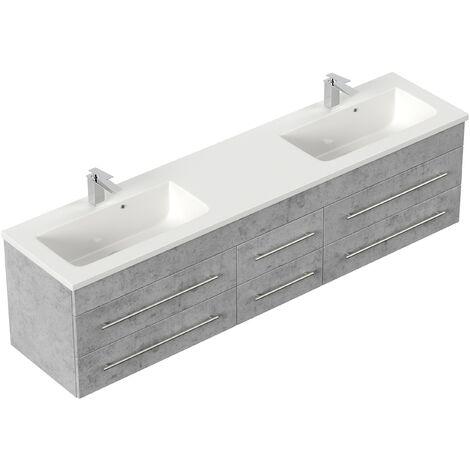 Mueble de baño Colossos 200 Blanco Gris hormigón