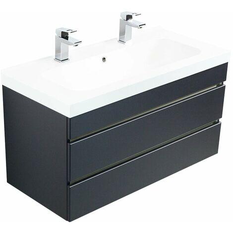 Mueble de baño con 2 lavabos Talis 100 Antracita sati. con cajones sin tiradores