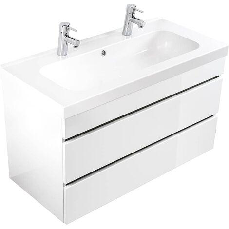 Mueble de baño con 2 lavabos Talis 100 Blanco brillan. con cajones sin tiradores