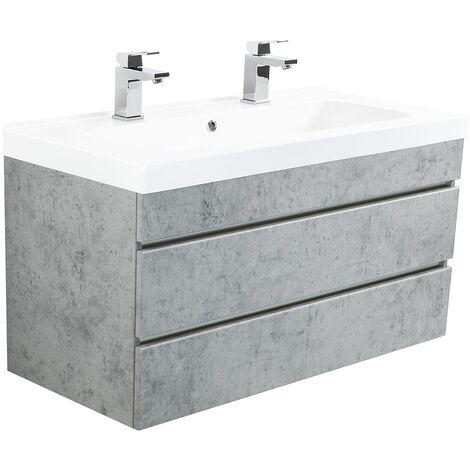 Mueble de baño con 2 lavabos Talis 100 Gris hormigón con cajones sin tiradores