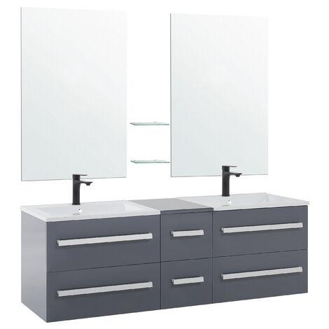 Mueble de baño con 2 lavados cerámicos y 2 espejos gris MADRID