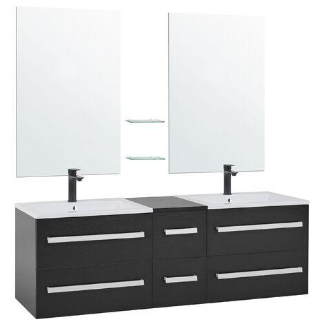 Mueble de baño con 2 lavados cerámicos y 2 espejos negro MADRID