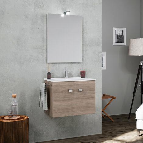 Mueble de baño con base suspendida 2 puertas y lavabo de cerámica toallero espejo lámpara LED Vanern Oak