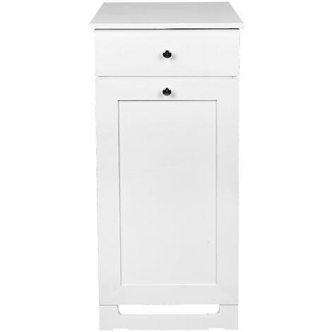 Mueble de baño con cesto para la colada,Mueble Columna de Baño con cajones, mueble baño blanco 40x38x90cm