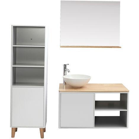 Mueble de baño con columna y espejo blanco y madera (lavabo no incluido) LAÏTA