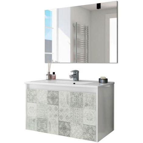 Mueble de baño con espejo DueBlanco Brillo – Baldosa Hidráulica