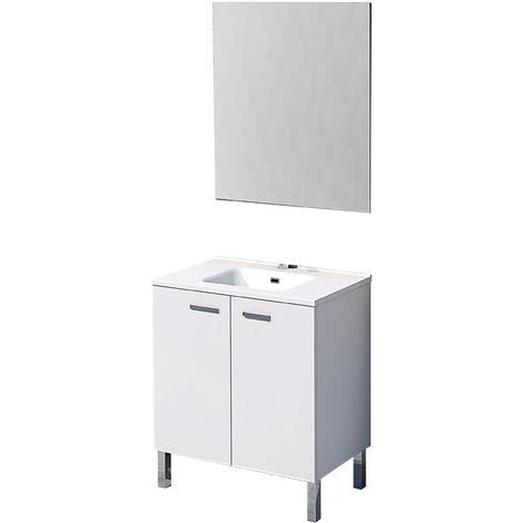 Mueble de baño con espejo y lavamanos cerámico, de dos puertas, Ona, color blanco, 80 x 46 x 75.