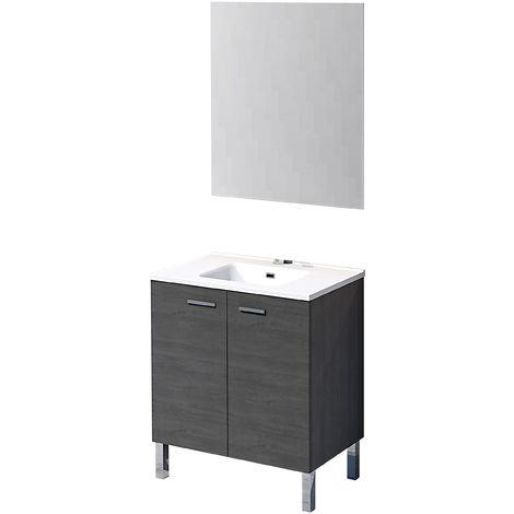 Mueble de baño con espejo y lavamanos cerámico, de dos puertas, Ona, color roble ceniza, 80 x 46 x 75.