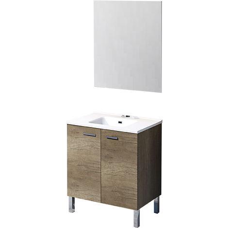 Mueble de baño con espejo y lavamanos cerámico, de dos puertas, Ona, color roble gris, 80 x 46 x 75.