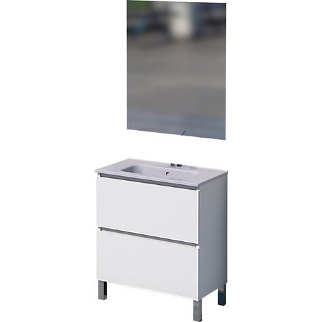 Mueble de baño con espejo y lavamanos cerámico, una puerta y un cajón, Rita, color blanco, 60 x 46 x 75.