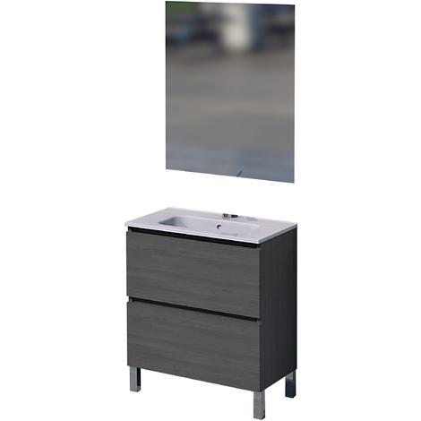Mueble de baño con espejo y lavamanos cerámico, una puerta y un cajón, Rita, color roble ceniza, 60 x 46 x 75.
