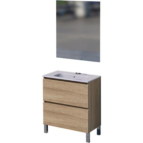 Mueble de baño con espejo y lavamanos cerámico, una puerta y un cajón, Rita, color roble natur, 60 x 46 x 75.