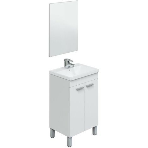 """main image of """"Mueble de baño de pie 50 cm blanco brillo con espejo"""""""