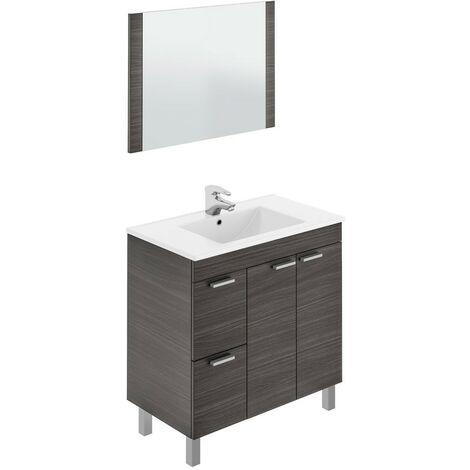 Mueble de baño con espejo y lavamanos (opcional) gris ceniza