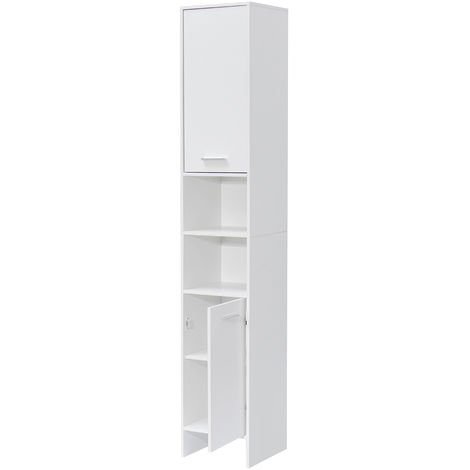 Mueble de baño con estante de almacenamiento de 30x30x170 cm de altura, 6 compartimentos para toallas LAVENTE