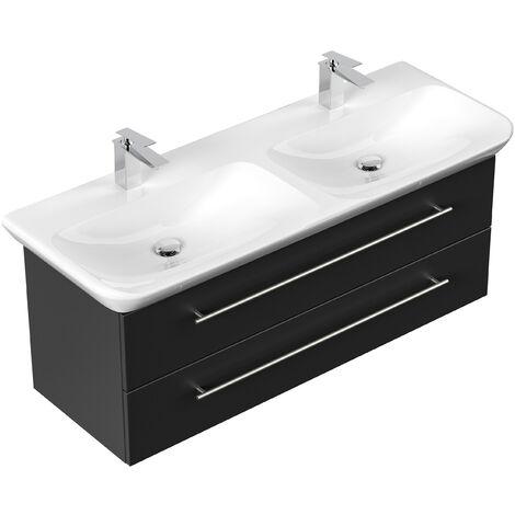 Mueble de baño con Geberit MyDay Lavabo Doble 130 cm Negro satinado