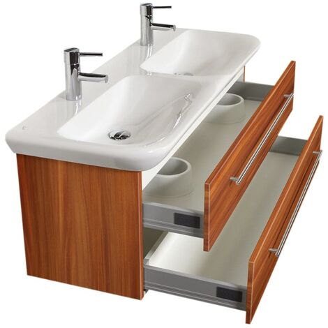 Mueble de baño con Geberit MyDay Lavabo Doble 130 cm Nuéz