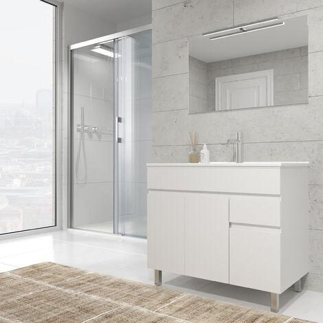 """main image of """"Mueble de baño con Lavabo de Cerámica 3 puertas y 1 cajón - Mueble Montado - Ancho 80 cms - Blanco Brillo - Modelo CLIF"""""""