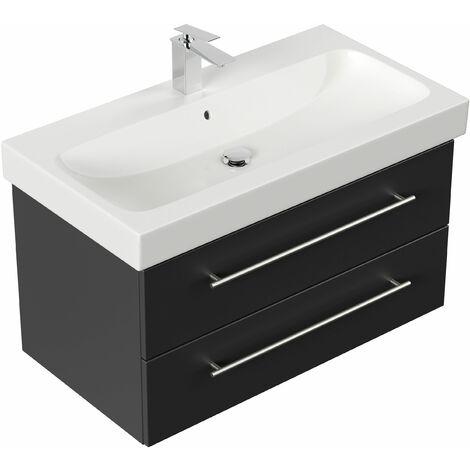 Mueble de baño con Lavabo Geberit Icon 90 cm negro satinado