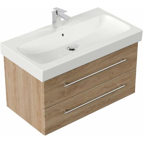 Mueble de baño con Lavabo Geberit Icon 90 cm roble claro