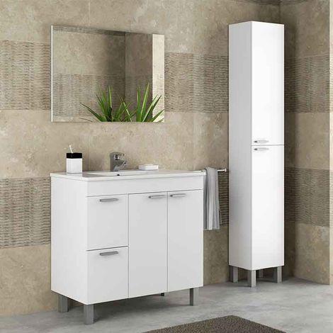 Mueble de baño con lavamanos + Columna Blanco Brillo