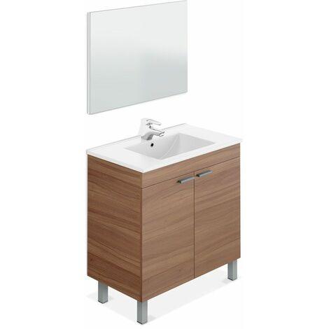 Mueble de baño con lavamanos ?(opcional) y espejo, Manila Blanco Brillo