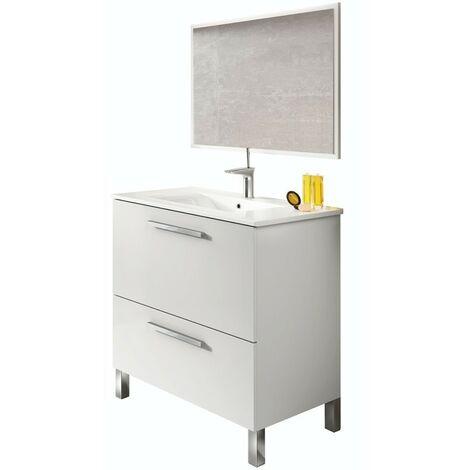 Mueble de baño con lavamanos ?(opcional) y espejo, Naida 80x45 Blanco Brillo