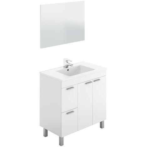 Mueble de baño con lavamanos ?(opcional) y espejo Sabela 80x45 Blanco Brillo