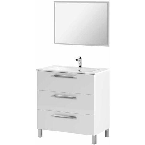 Mueble de baño con lavamanos ?(opcional) y espejo, Taria 86x80 Blanco Brillo
