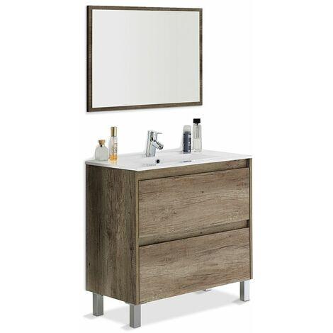 Mueble de baño con lavamanos (opcional) y espejo, Zenda 80x80 color Nordik