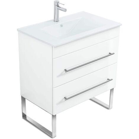 Mueble de baño con patas Casa Infinity 750 Blanco brillante