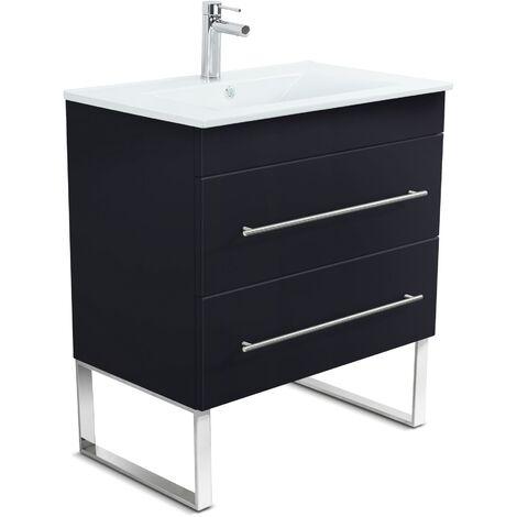 Mueble de baño con patas Casa Infinity 750 Negro satinado