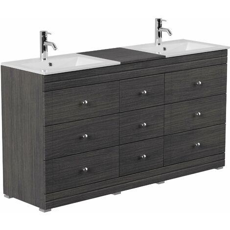 Mueble de baño con patas Cosmo clásico Antracita vetado