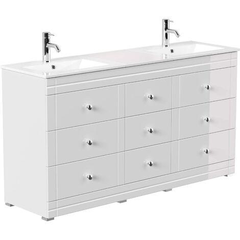Mueble de baño con patas Cosmo clásico Blanco brillante