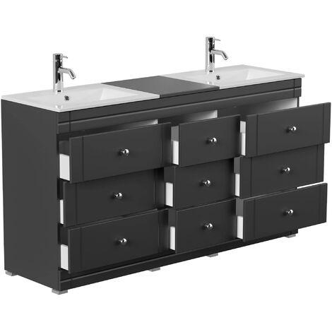 Mueble de baño con patas Cosmo clásico negro brillo sedoso