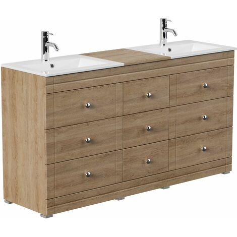 Mueble de baño con patas Cosmo clásico roble claro