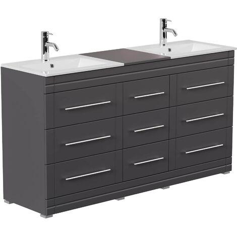 Mueble de baño con patas Cosmo Moderno antracita sedoso