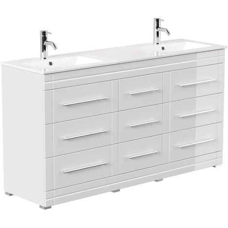 Mueble de baño con patas Cosmo Moderno Blanco brillante