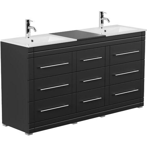 Mueble de baño con patas Cosmo Moderno negro brillo sedoso