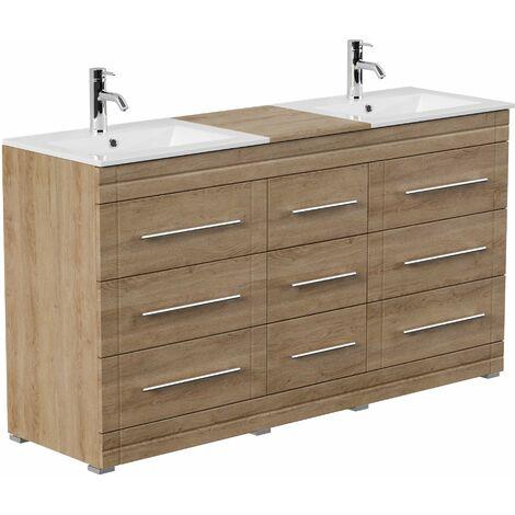 Mueble de baño con patas Cosmo Moderno roble claro