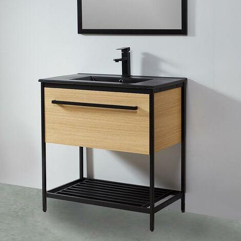 Mueble de Baño con patas + Lavabo negro 80 cm SMART – Madera y Metal Negro