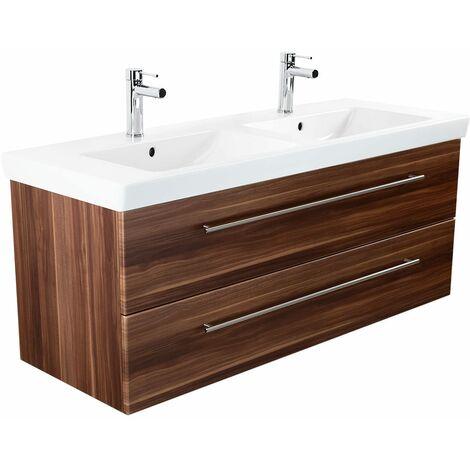 Mueble de baño con Villeroy & Boch Subway 2.0 Lavabo 130 cm Nuéz