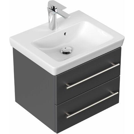 Mueble de baño con Villeroy &Boch Subway 2.0 lavabo 50cm Antracita satinado