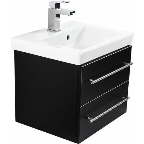 Mueble de baño con Villeroy & Boch Subway 2.0 lavabo 50cm Negro satinado